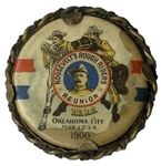 Theodore Roosevelts Rough Riders Reunion Button -- From 1900 Shortly After the Spanish-American War