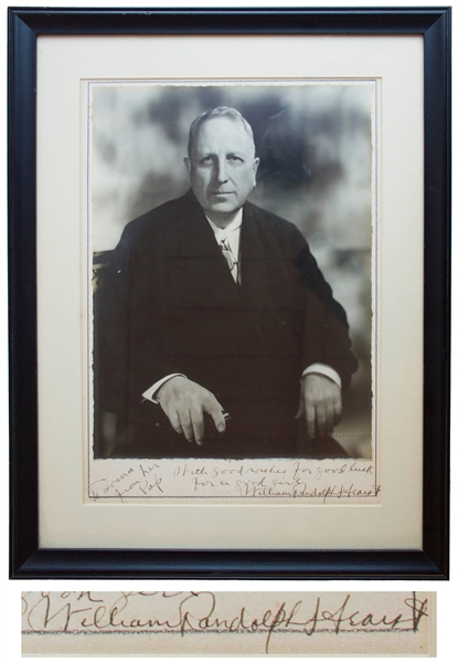 William Randolph Hearst Large Signed Photo Display Measuring 11'' x 15'' -- Hearst Inscribes the Photo to His Daughter-in-Law Lorna, ''from her Pop''
