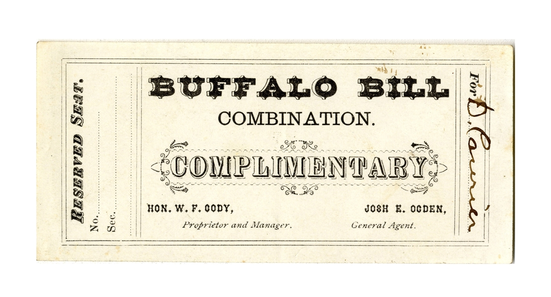 Ticket to ''Buffalo Bill'' Cody's Wild West Show