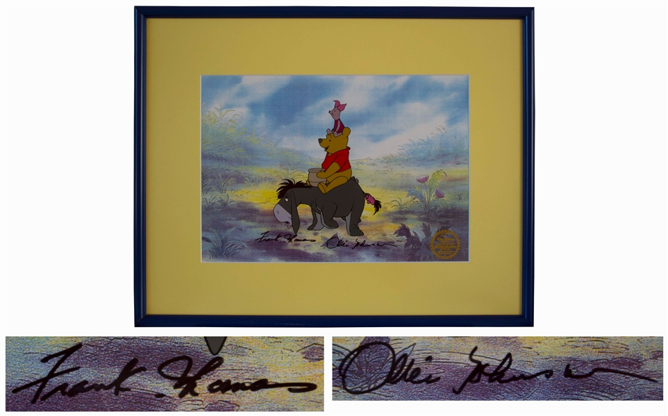 Disney Limited Edition Sericel of ''Winnie the Pooh, Piglet & Eeyore'' -- Signed by Legendary Disney Animators Frank Thomas and Ollie Johnston