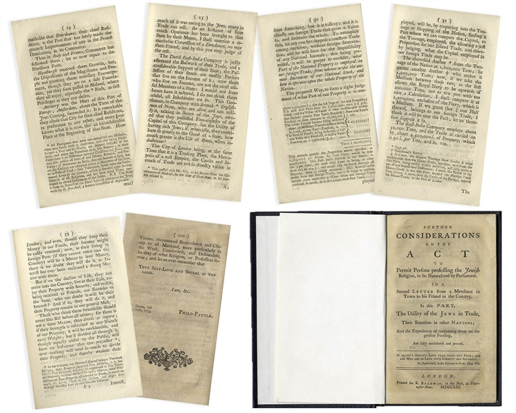 Important Book From 1753 on Jewish Anti-Semitism in England -- ''Further Considerations on the Act to Permit Persons Professing the Jewish Religion to be Naturalized by Parliament''
