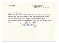 German Admiral Karl Donitz Typed Letter Signed -- Hitlers Successor Looks Forward to a Gift of a Model Ship