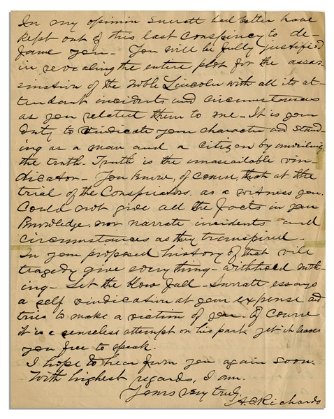 Eyewitness Letter to President Abraham Lincoln's Assassination -- ''...You will be fully justified in revealing the entire plot for the assassination of the noble Lincoln...''
