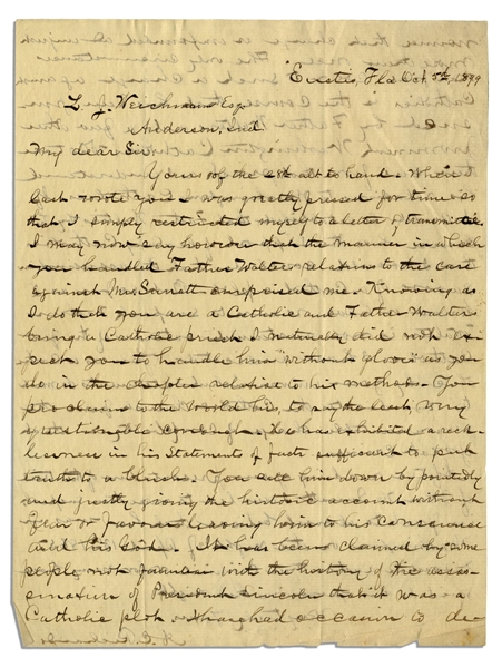 Lincoln Assassination Letter Regarding the Guilt of Father Walter -- ''...It has been claimed by some not familiar with the history of the assassination...that it was a Catholic plot...''