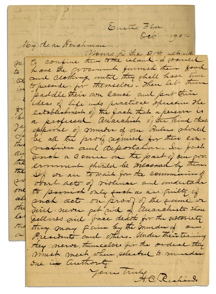 Letter Regarding the Assassinations of Presidents Lincoln & McKinley -- ''...anarchists...will face death for the notoriety they may gain by the murder of our Presidents and others...''
