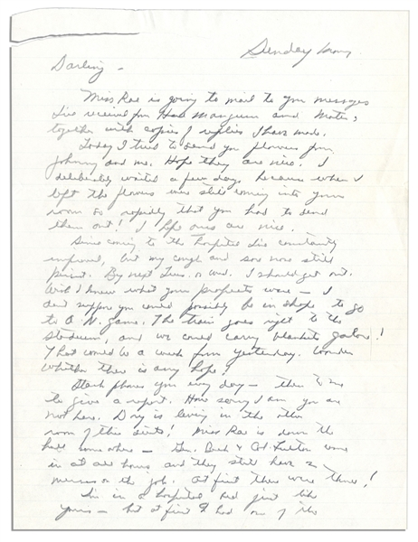General Dwight Eisenhower Autograph Letter Signed to His Wife, Mamie -- ''...the only real reason I'm writing is just to tell you again I love you...''