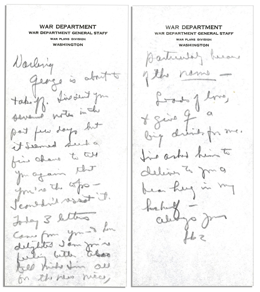 General Dwight Eisenhower 1942 Autograph Letter Signed to His Wife, Mamie -- ''...such a fine chance to tell you again that you're the tops...''