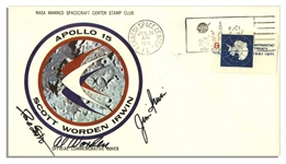 Apollo 15 Crew-Signed NASA Astronaut Insurance Cover -- Al Worden, Dave Scott & Jim Irwin -- Cancelled 26 July 1971 -- 6.5 x 3.75 -- Near Fine Condition -- With COA From Worden