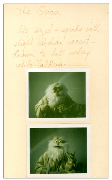 Jim Henson Handwritten Character Description of Muppet Brewster ''The Guru'' -- With Polaroid Photos of The Prototype