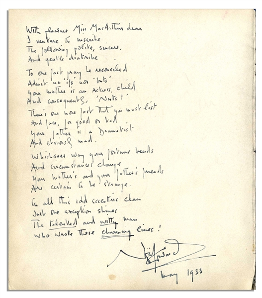 Noel Coward Handwritten & Signed Poem -- Composed in 1933 for Helen Hayes' Daughter -- ''...The talented and witty man / Who wrote these charming lines! / Noel Coward...''
