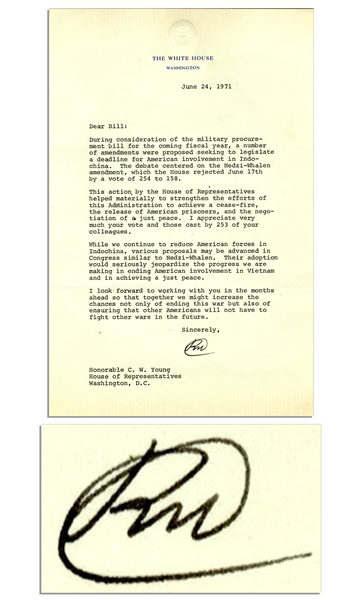 Richard Nixon Letter Signed as President Regarding Vietnam -- ''...this Administration to achieve a cease-fire, the release of American prisoners, and the negotiation of a just peace...''