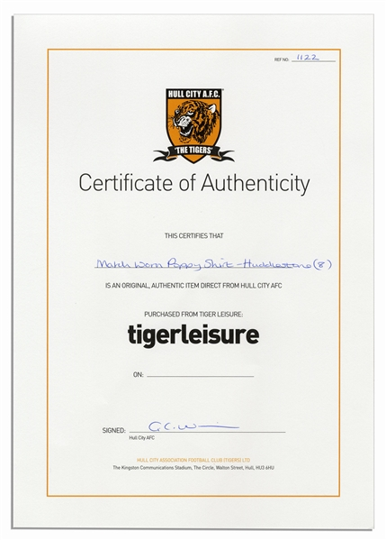 Tom Huddlestone Match-Worn Hull City Football Shirt Signed