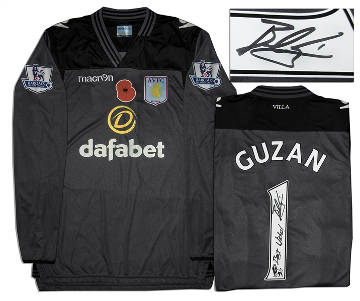 Aston Villa Jersey Worn & Signed By Brad Guzan, #1
