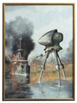 Ray Bradbury Personally Owned Oil Painting by Raymond Bayless -- The Famous Martian Tripod vs. HMS Thunder Child Battle Scene From H.G. Wells War of the Worlds