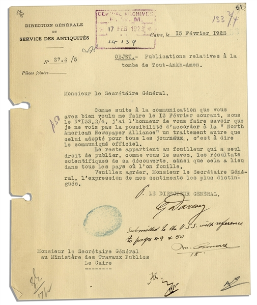 French Egyptologist Georges Emile Jules Daressy Typed Letter Signed Pertaining to King Tut's Tomb & the Press