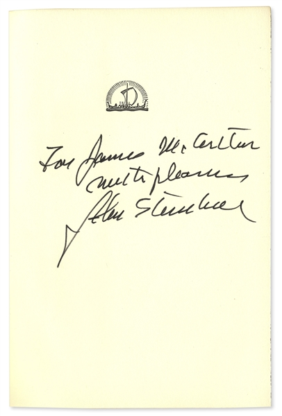 John Steinbeck Signed Copy of ''Travels With Charley'' -- From the Helen Hayes Estate