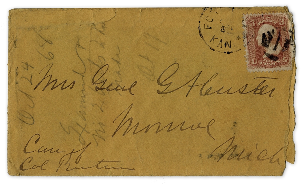 George Custer Envelope Made Out in His Hand to His Wife -- ''Mrs. G.A. Custer''