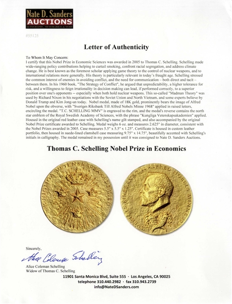 Nobel Prize Awarded to Thomas Schelling in 2005 -- One of the Foremost Experts in Game Theory Regarding Nuclear Arms Strategy -- Proceeds of Sale Will Be Donated to the Southern Poverty Law Center