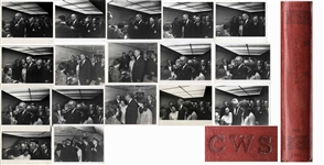 Cecil W. Stoughtons Personal Photo Album, Storing 17 of His Photos of LBJs Inauguration Aboard Air Force One, With Johnson Taking the Oath of Office as a Stunned Jackie Kennedy Looks On