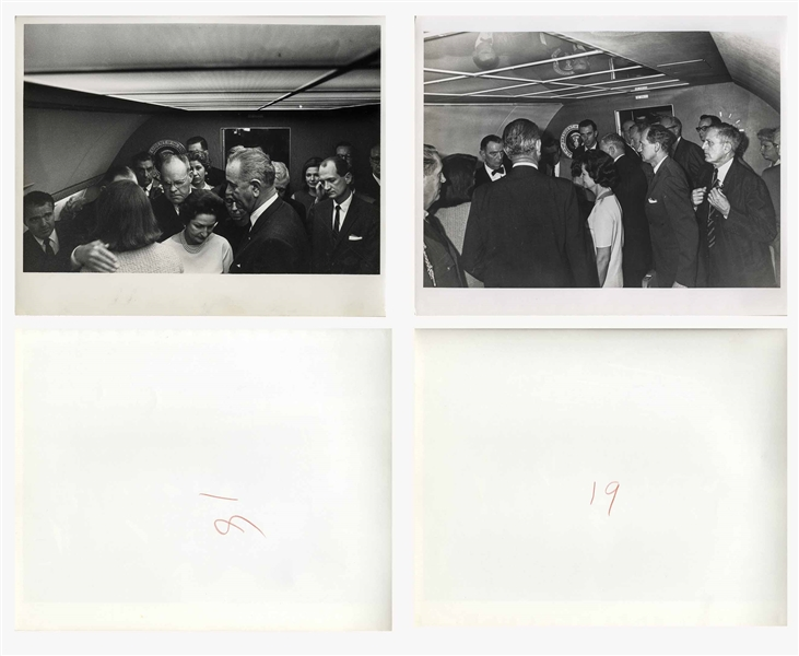 Cecil W. Stoughton's Personal Photo Album, Storing 17 of His Photos of LBJ's Inauguration Aboard Air Force One, With Johnson Taking the Oath of Office as a Stunned Jackie Kennedy Looks On