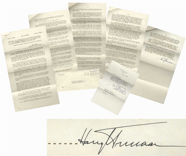 Harry Truman Speech Signed as President From 1952 -- ''...The Kremlin is not going to take a vacation just because we are having a Presidential election in this country. Far from it...''
