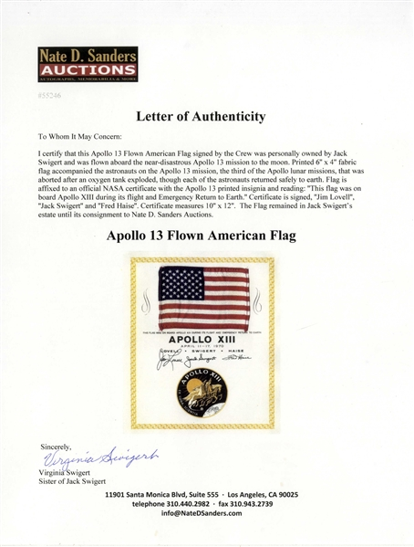 Apollo 13 United States Flag Space-Flown -- Crew-Signed & Uninscribed, From the Jack Swigert Estate