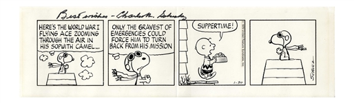 Snoopy as The Red Baron Flying Ace -- Charles Schulz 1979 Hand-Drawn Peanuts Comic Strip