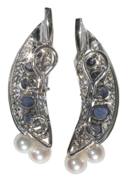 Estee Lauder Owned Platinum Earrings With Diamonds, Pearls and Sapphires -- Designed by David Webb & With Provenance From Sotheby's
