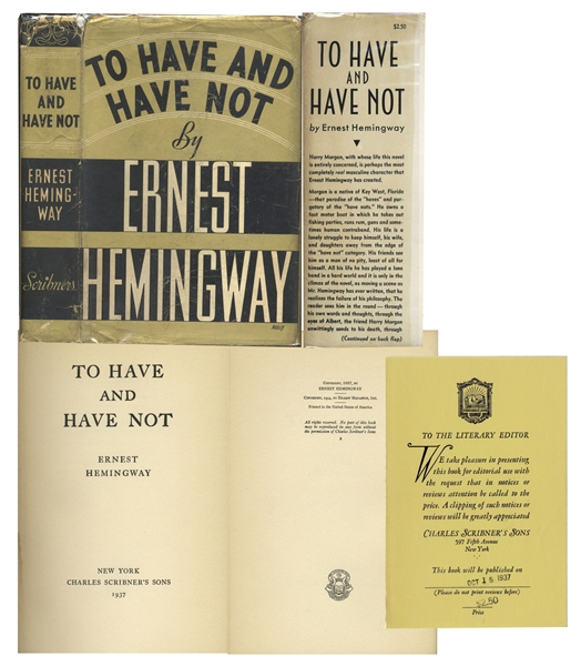 Advance Review Copy of Ernest Hemingway's ''To Have and Have Not''