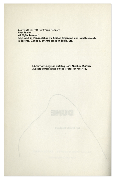 First Edition, First Printing of Frank Herbert's ''Dune'' -- With Typed Letter Signed by Herbert Regarding ''Dune'' Sequels