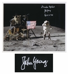 John Young Signed Photo of Him Standing on the Moon in the Descartes Highlands -- With Steve Zarelli COA