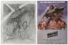 The Empire Strikes Back Original Concept Movie Poster Art by Tom Jung -- Redone to Include Harrison Ford as Han Solo -- Measures 19 x 24