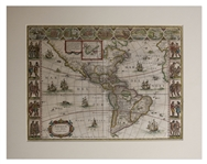17th Century Hand-Colored Map of the Americas by Noted Cartographer Willem Blaeu -- Entitled A New Map of America