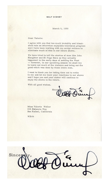 Walt Disney Letter Signed Regarding Media Violence -- ''...too much brutality and bloodshed ruin an otherwise enjoyable television program...''