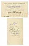 Mercury 7 Signed Invitation to Honor Them -- Signed by All 7 Except Deke Slayton