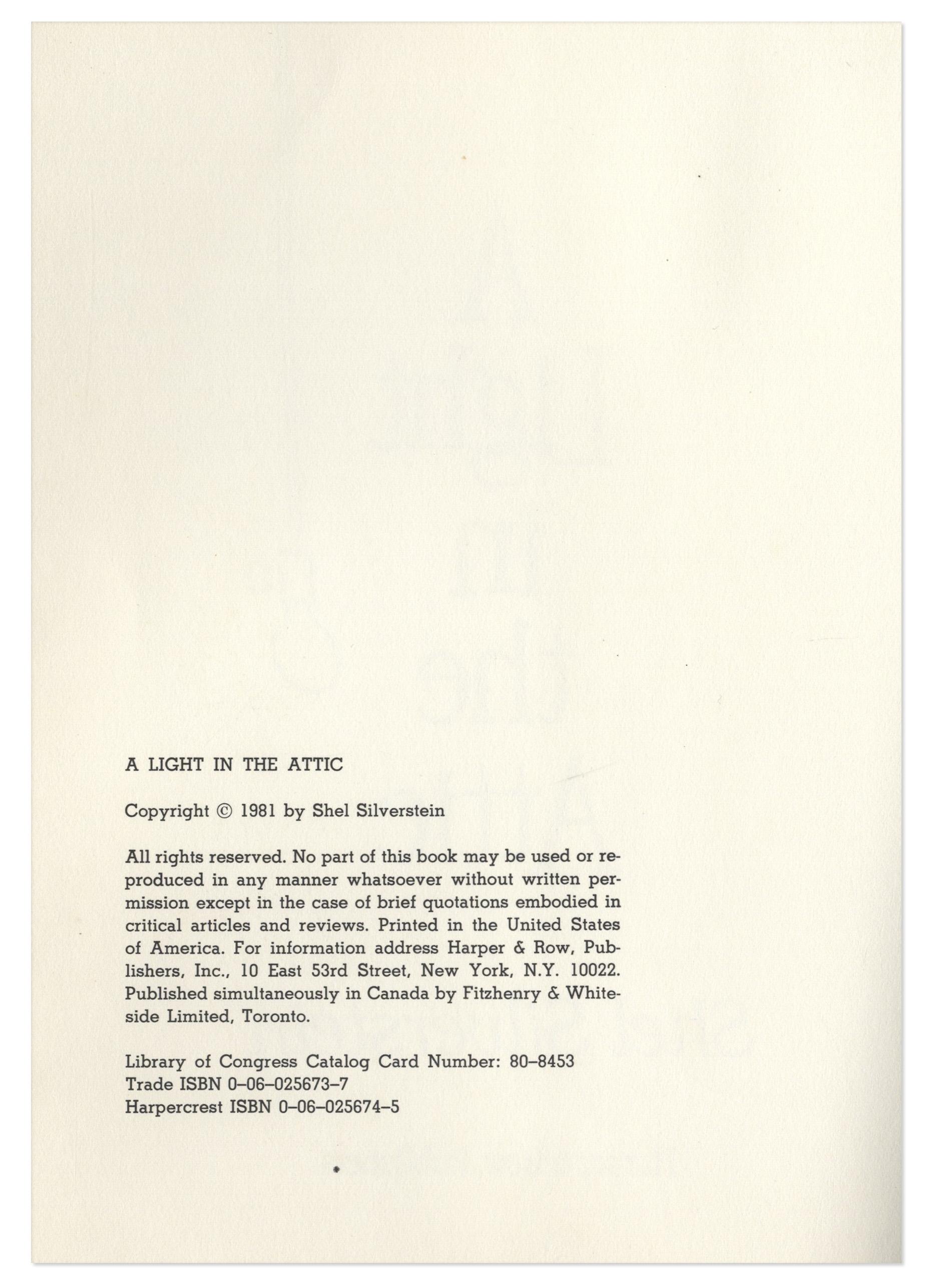 Shel Silverstein Signed First Edition Of U0027u0027A Light In The Atticu0027u0027, ...