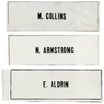 Apollo 11 Beta Cloth Name Tags for the Entire Crew -- Three Tags Reading N. ARMSTRONG, E. ALDRIN and M. COLLINS