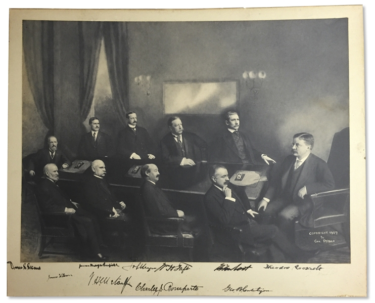 Theodore Roosevelt Signed Cabinet Photo Measuring 23 x 19 -- Roosevelt Signs the Photo, Along With Nine Members of His Cabinet, Including William Taft -- With University Archives COA