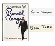 Ronald & Nancy Reagan Signed Copy of An American Life, Uniquely Signed by the First Couple -- With Beckett COA