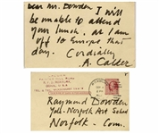 Alexander Calder Autograph Note Signed -- ...I am off to Europe...