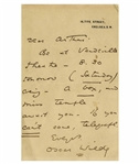 Oscar Wilde Autograph Letter Signed -- ...Be at Vaudeville Theatre...