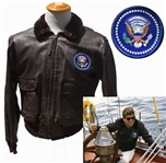 John F. Kennedys Personally Owned Leather Bomber Jacket -- Recovered From the Honey Fitz Yacht After His Death