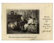 Eleanor Roosevelt Signed Christmas Card During FDRs Tenure as Governor of New York