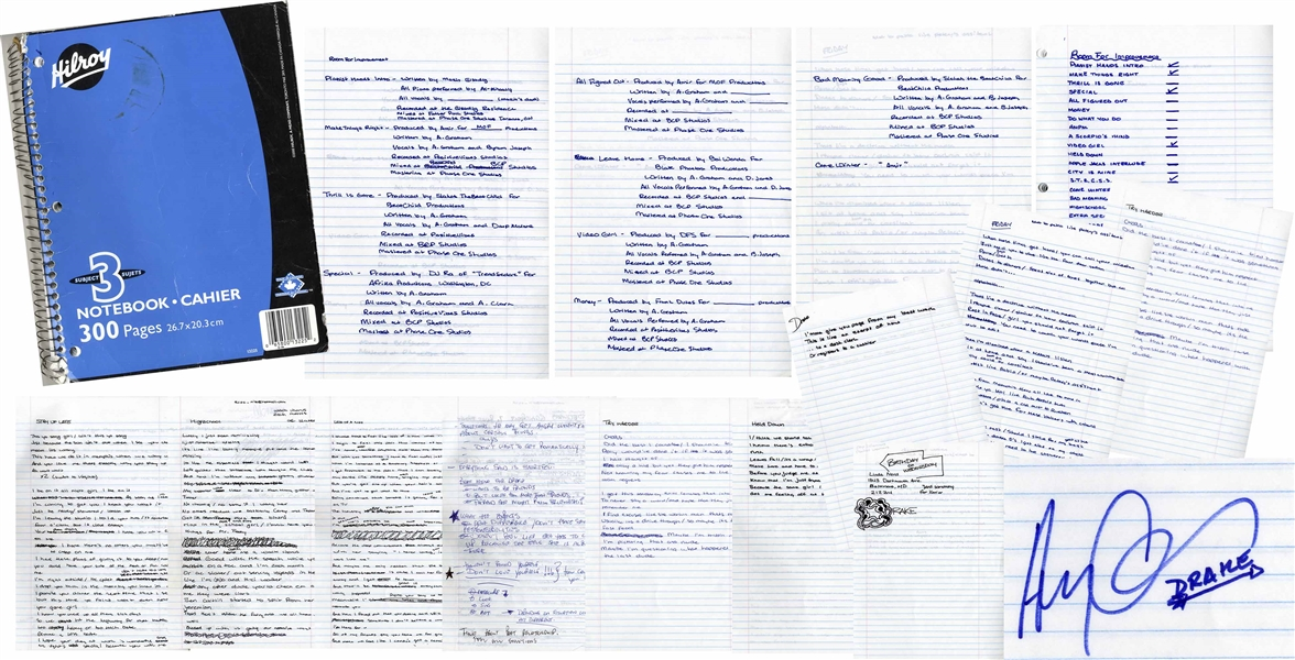 Drake's Personal, Signed Notebook for His First Mixtape, ''Room For Improvement'' -- Includes 80 Handwritten Pages of Lyrics, His ''My First Album'' Todo List, Motivational Quotes, Signatures & More