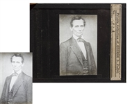 Abraham Lincoln Magic Lantern Slide -- Mathew Bradys First Photograph of Lincoln, O-17
