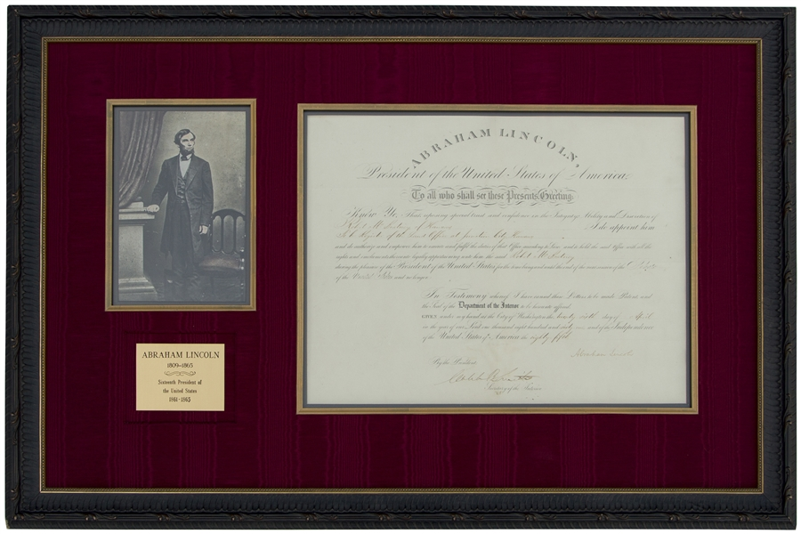 Abraham Lincoln Document Signed as President -- With Full ''Abraham Lincoln'' Signature, Lincoln Appoints a Register to the Kansas Land Office at the Start of the Civil War -- With PSA/DNA COA