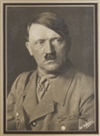 Scarce Adolf Hitler Signed Photo -- With Letter Signed by Albert Bormann From Hitlers Chancellory Confirming the Signature