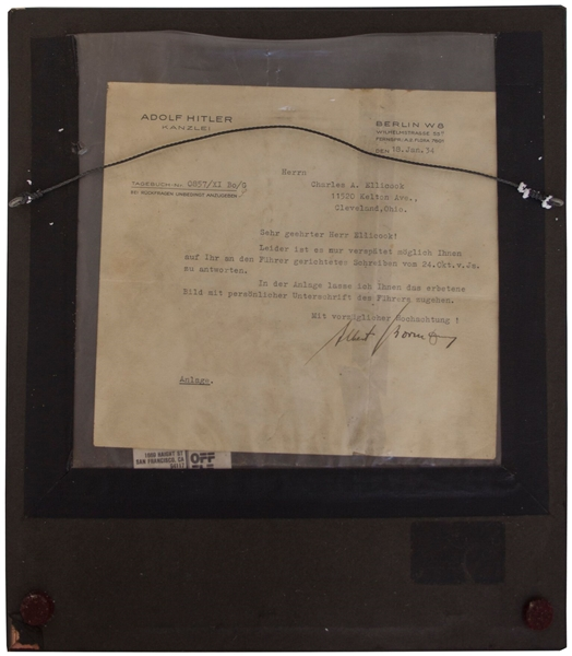 Scarce Adolf Hitler Signed Photo -- With Letter Signed by Albert Bormann From Hitler's Chancellory Confirming the Signature