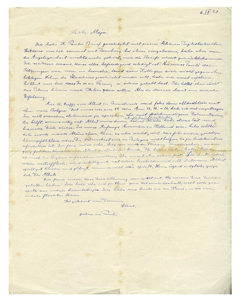 Albert Einstein Autograph Letter Signed From 1921, Regarding Anti-Semitism in Germany -- ''...I am supposed to go to Munich, but I will not do that, because this would endanger my life right now...''