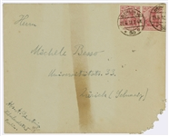 Albert Einstein Envelope Signed From 1918 to His Closest Friend Michele Besso -- With World War I Censor Paste
